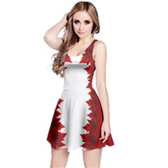 Canada Maple Leaf Art Reversible Sleeveless Dress