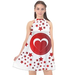 Monogram Heart Pattern Love Red Halter Neckline Chiffon Dress  by Celenk
