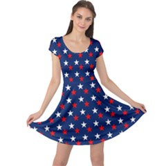 Patriotic Red White Blue Stars Blue Background Cap Sleeve Dress