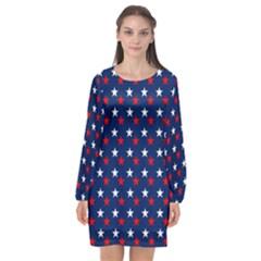 Patriotic Red White Blue Stars Blue Background Long Sleeve Chiffon Shift Dress  by Celenk