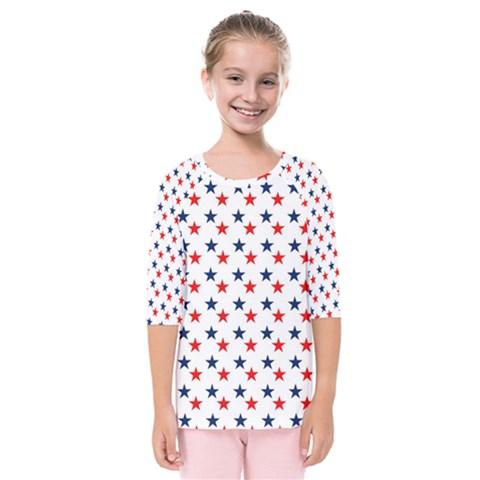 Patriotic Red White Blue Stars Usa Kids  Quarter Sleeve Raglan Tee by Celenk