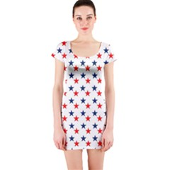 Patriotic Red White Blue Stars Usa Short Sleeve Bodycon Dress by Celenk