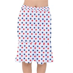 Patriotic Red White Blue Stars Usa Mermaid Skirt by Celenk