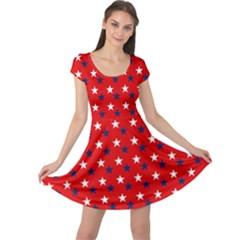 Patriotic Red White Blue Usa Cap Sleeve Dress