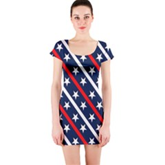 Patriotic Red White Blue Stars Short Sleeve Bodycon Dress by Celenk