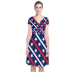 Patriotic Red White Blue Stars Short Sleeve Front Wrap Dress by Celenk