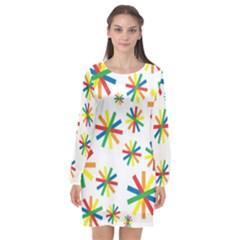 Celebrate Pattern Colorful Design Long Sleeve Chiffon Shift Dress  by Celenk