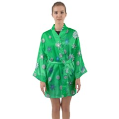 Snowflakes Winter Christmas Overlay Long Sleeve Kimono Robe by Celenk