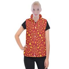 Star Stars Pattern Design Women s Button Up Puffer Vest by Celenk
