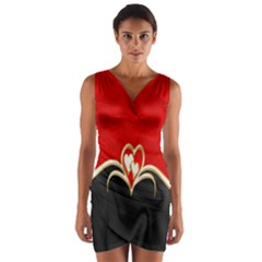 Red Black Background Wallpaper Bg Wrap Front Bodycon Dress by Celenk