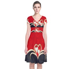 Red Black Background Wallpaper Bg Short Sleeve Front Wrap Dress by Celenk