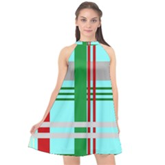 Christmas Plaid Backgrounds Plaid Halter Neckline Chiffon Dress  by Celenk