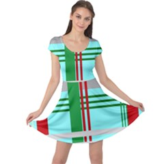 Christmas Plaid Backgrounds Plaid Cap Sleeve Dress