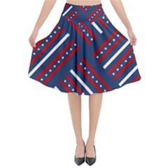 Patriotic Red White Blue Stars Flared Midi Skirt by Celenk