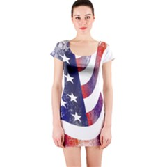 Usa Flag America American Short Sleeve Bodycon Dress