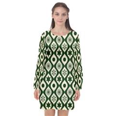 Green Ornate Christmas Pattern Long Sleeve Chiffon Shift Dress