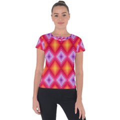 Texture Surface Orange Pink Short Sleeve Sports Top  by Celenk