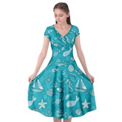 Fun Everyday Sea Life Cap Sleeve Wrap Front Dress by allthingseveryday
