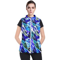 Abstract Background Blue White Women s Puffer Vest by Celenk