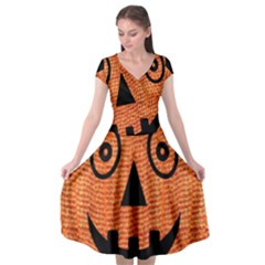Fabric Halloween Pumpkin Funny Cap Sleeve Wrap Front Dress by Celenk