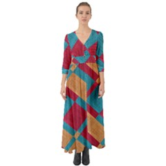 Fabric Textile Cloth Material Button Up Boho Maxi Dress by Celenk