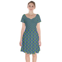 Texture Background Pattern Short Sleeve Bardot Dress