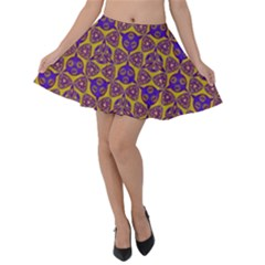 Sacred Geometry Hand Drawing 2 Velvet Skater Skirt by Cveti