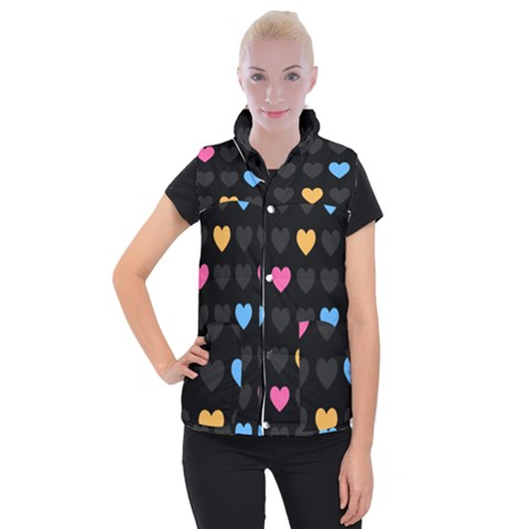 Emo Heart Pattern Women s Button Up Puffer Vest