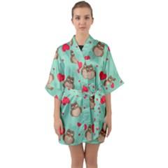Owl Valentine s Day Pattern Quarter Sleeve Kimono Robe by allthingseveryday