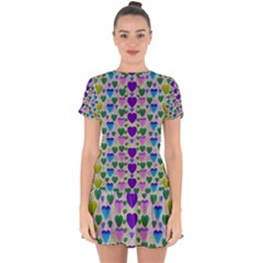 Love In Eternity Is Sweet As Candy Pop Art Drop Hem Mini Chiffon Dress by pepitasart
