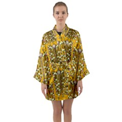 Rain Showers In The Rain Forest Of Bloom And Decorative Liana Long Sleeve Kimono Robe by pepitasart