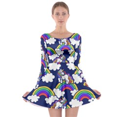 Rainbow Unicorns Long Sleeve Skater Dress by BubbSnugg