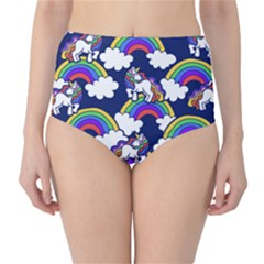 Rainbow Unicorns High Waist Bikini Bottoms by BubbSnugg