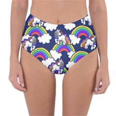 Rainbow Unicorns Reversible High Waist Bikini Bottoms by BubbSnugg