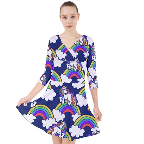 Rainbow Unicorns Quarter Sleeve Front Wrap Dress