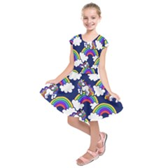 Rainbow Unicorns Kids  Short Sleeve Dress by BubbSnugg
