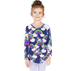 Rainbow Unicorns Kids  Long Sleeve Tee by BubbSnugg