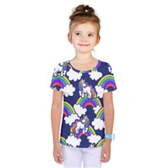 Rainbow Unicorns Kids  One Piece Tee by BubbSnugg