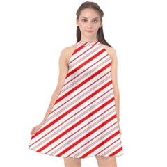 Candy Cane Stripes Halter Neckline Chiffon Dress
