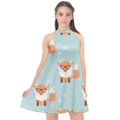 Cute Fox Pattern Halter Neckline Chiffon Dress  by OregonBigfootShirts