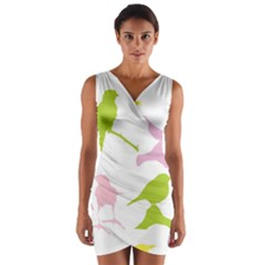 Birds Colourful Background Wrap Front Bodycon Dress by Celenk