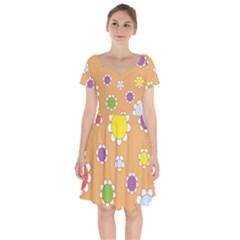 Floral Flowers Retro 1960s 60s Short Sleeve Bardot Dress by Celenk
