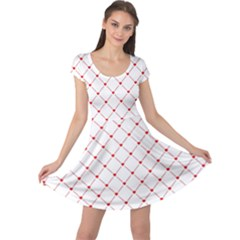 Hearts Pattern Love Design Cap Sleeve Dress