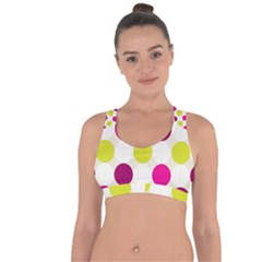 Polka Dots Spots Pattern Seamless Cross String Back Sports Bra by Celenk