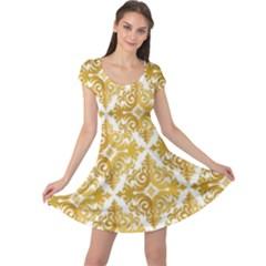 Gold Pattern Wallpaper Fleur Cap Sleeve Dress