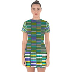 Color Grid 03 Drop Hem Mini Chiffon Dress by jumpercat