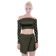 Yellow Cross Off Shoulder Top With Mini Skirt Set by jumpercat