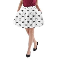 Black Pixel Skull Pirate A Line Pocket Skirt by jumpercat