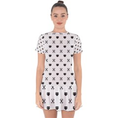 Black Pixel Skull Pirate Drop Hem Mini Chiffon Dress by jumpercat