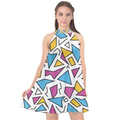 Retro Shapes 01 Halter Neckline Chiffon Dress  by jumpercat